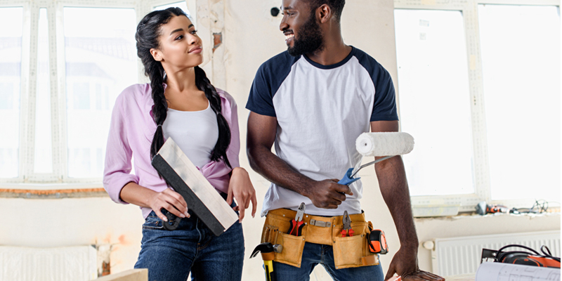black couple renovating home
