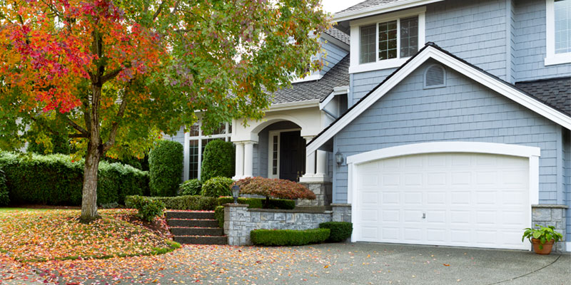 view of front of a home with leaves falling in the yard
