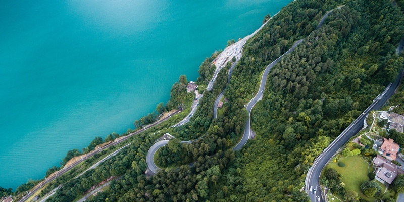 Aerial view of beautiful coast of rocky hill