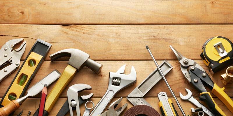 Tools laying on hardwood - overhead shot